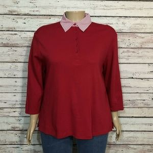Hannah Red White Stripe Layer Look Knit Shirt Top